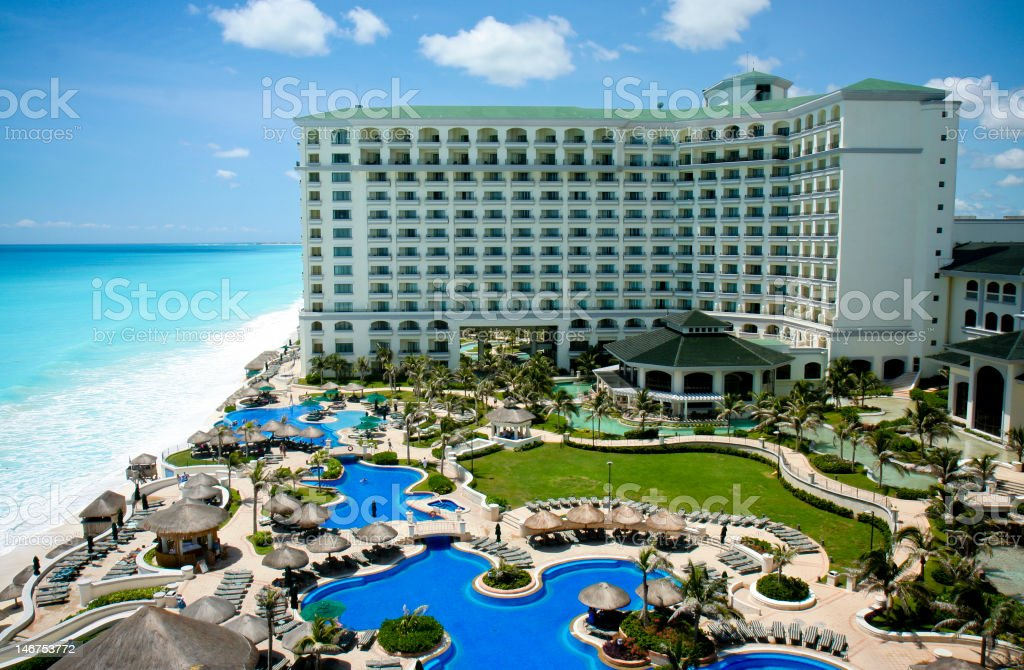Resort in Cancun shown in the daytime from the air royalty-free stock photo