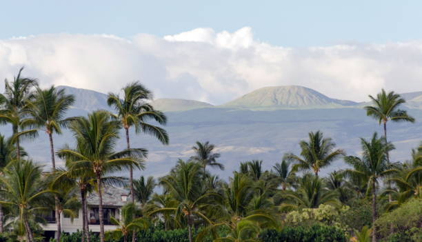 Resort in Waikoiloa with Mauna Kea in background, Big Island, Hawaii stock photo