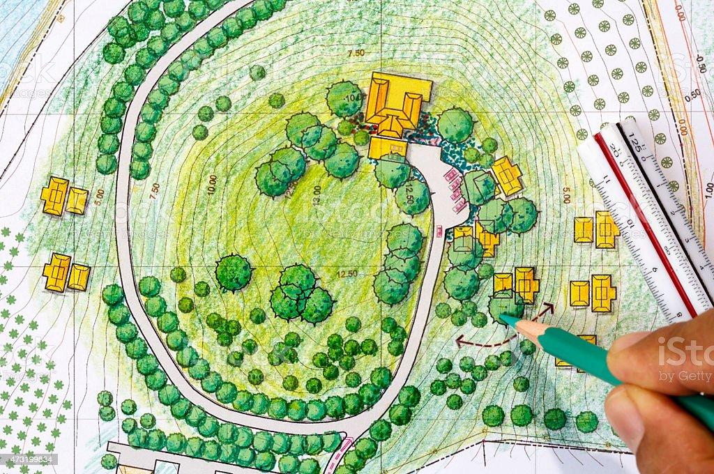 Landschaft Design-Werkzeuge zum Resort. – Foto