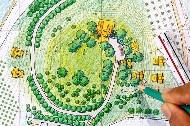 landschaft design-werkzeuge zum resort. - vorgarten landschaftsbau stock-fotos und bilder