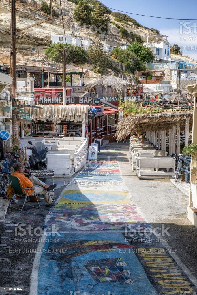 Resort Matala at Crete, Greece stock photo