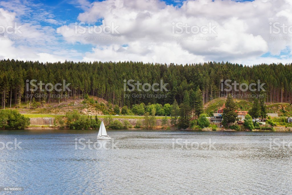 Resort on Lake Schluchsee. Black Forest. Germany stock photo