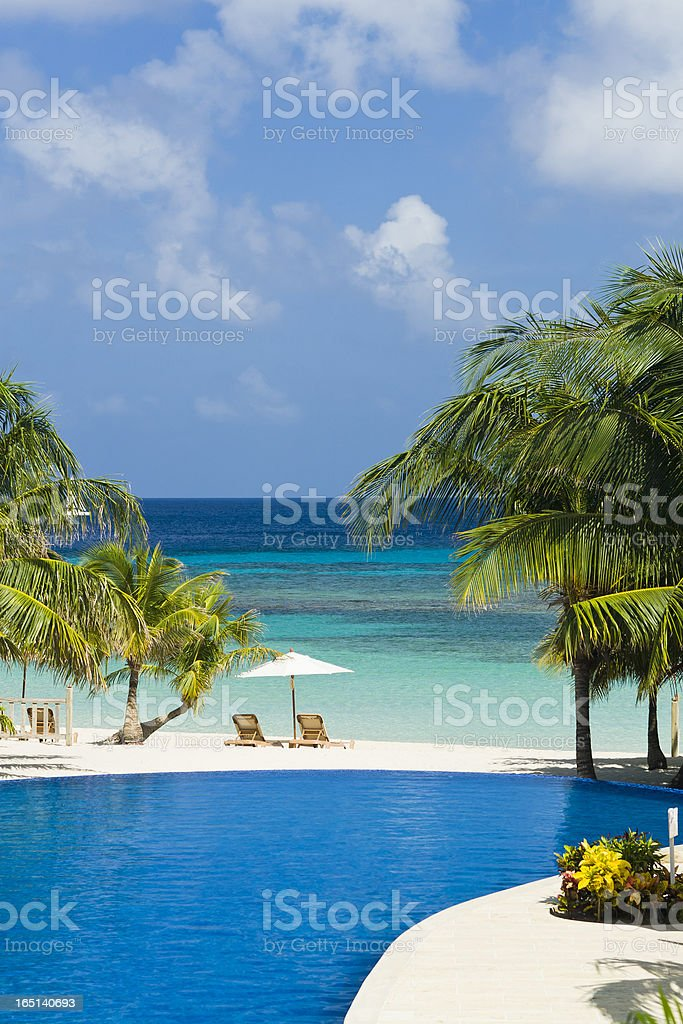 Resort Pool on Beach stock photo