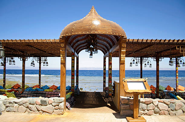 resort restaurant on the red sea in dahab stock photo