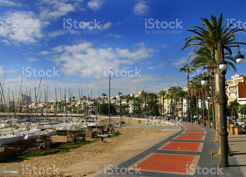Resort Town Beach Boats  Barcelona royalty-free stock photo