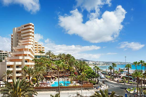 Ciudad complejo turístico de Playa del inglés. Maspalomas. Gran Canaria. - foto de stock