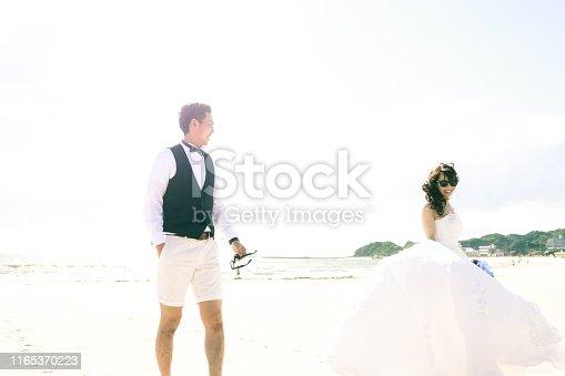 Asian couple is enjoying their honeymoon