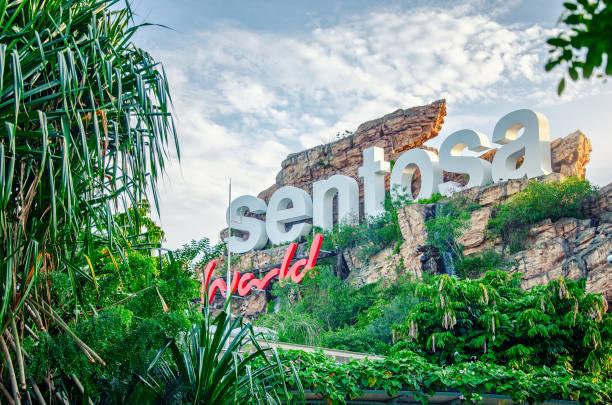Resorts World Sentosa inscription in Singapore stock photo
