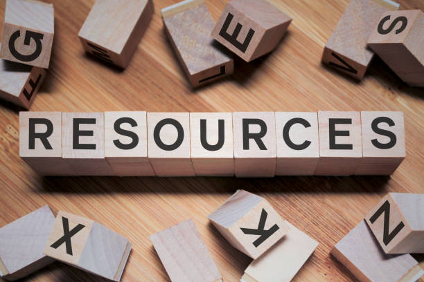 Resources Word In Wooden Cube stock photo