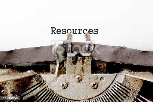 Resources word made by typewriter.