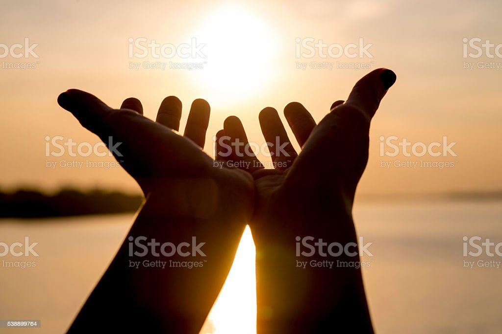Respect And Pray On The Sunset Catching The Sun Stock Photo More