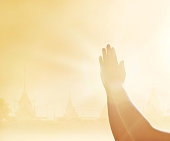 istock Respect and praying hands on the temple background 538354366