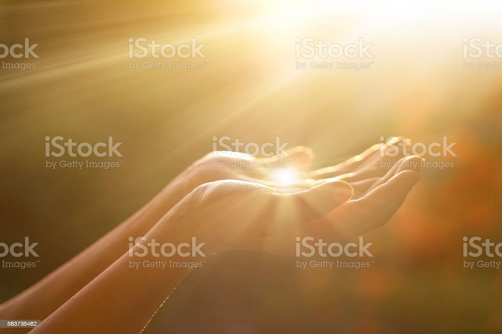 Respect and praying on nature background stock photo