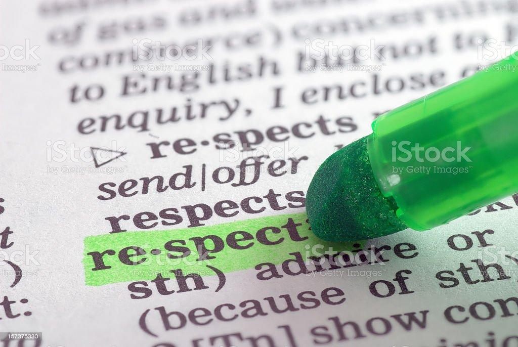 respect definition highlighted in dictionary stock photo
