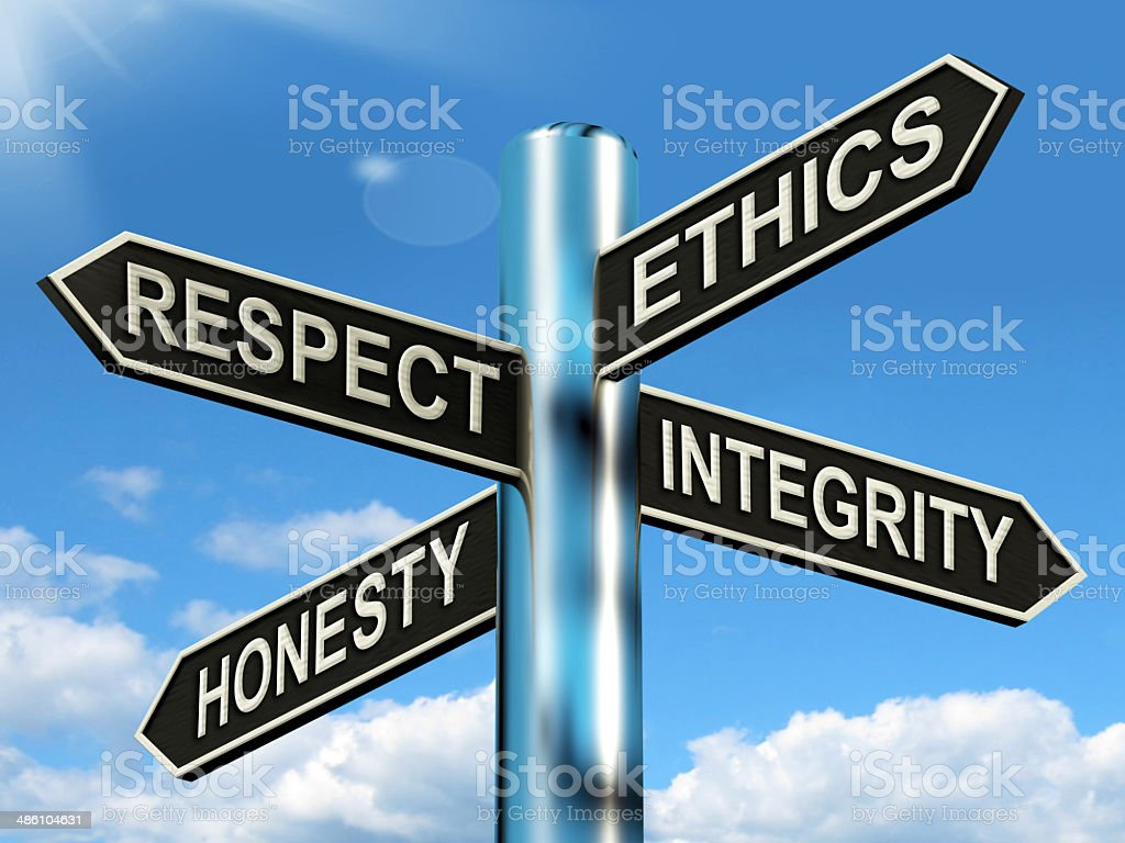 Respect Ethics Honest Integrity Signpost Means Good Qualities stock photo