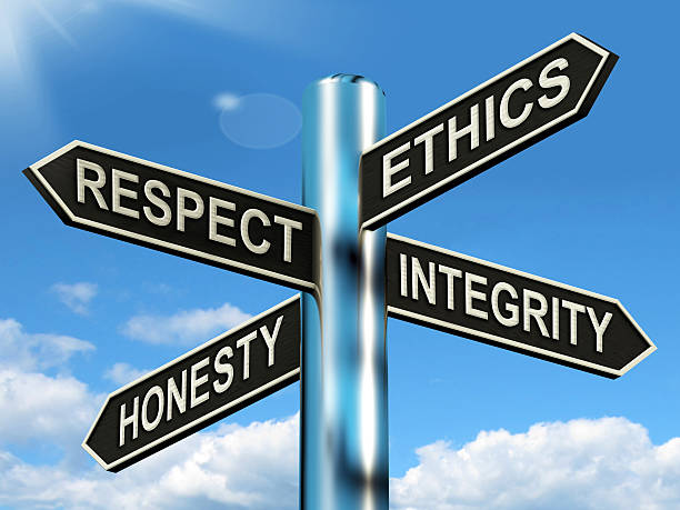 respect ethics honest integrity signpost means good qualities - respect stock photos and pictures