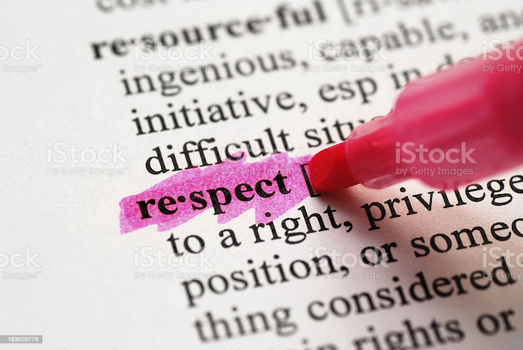 Respect highlighted in dictionary stock photo