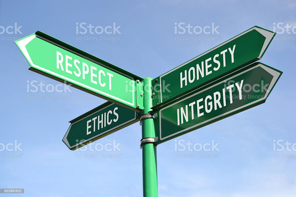 Respect, honesty, ethics, integrity signpost stock photo