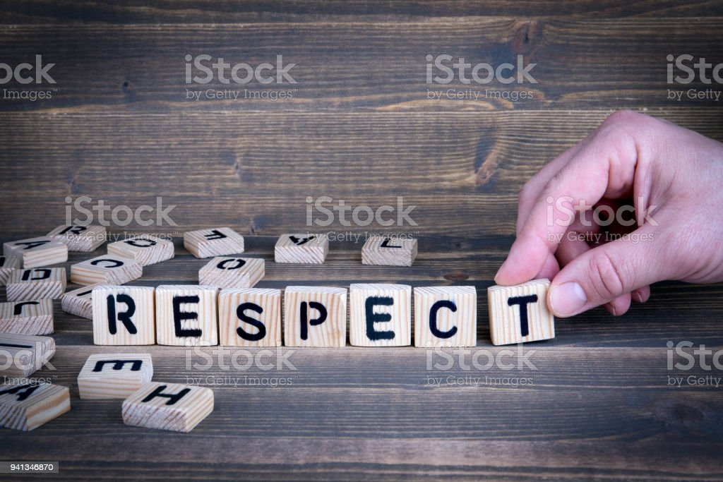 Respect. Wooden letters on the office desk stock photo