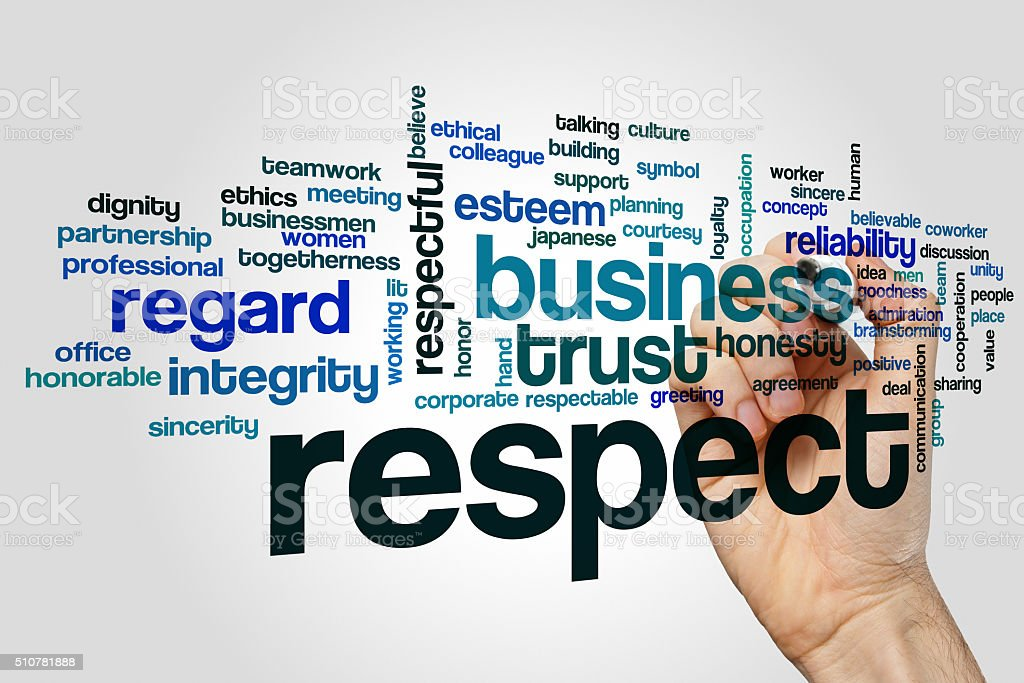 Respect word cloud concept stock photo