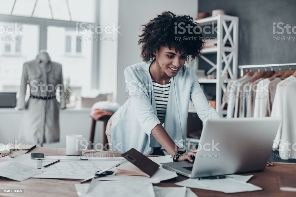 Responding on business e-mail. stock photo