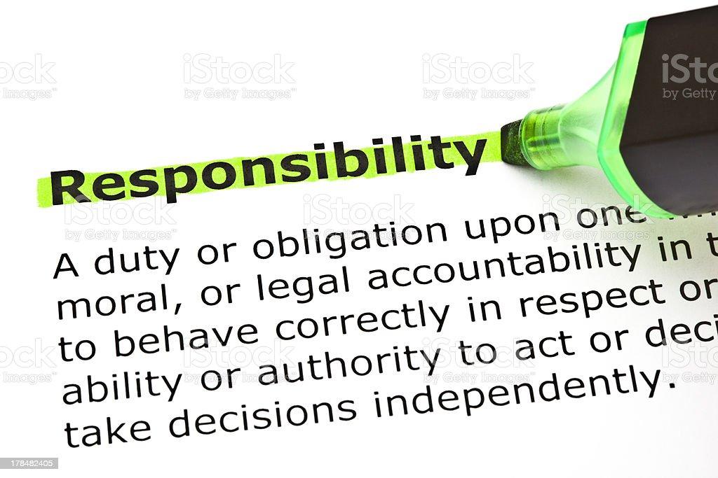 Responsabilidade destacados em verde - foto de acervo