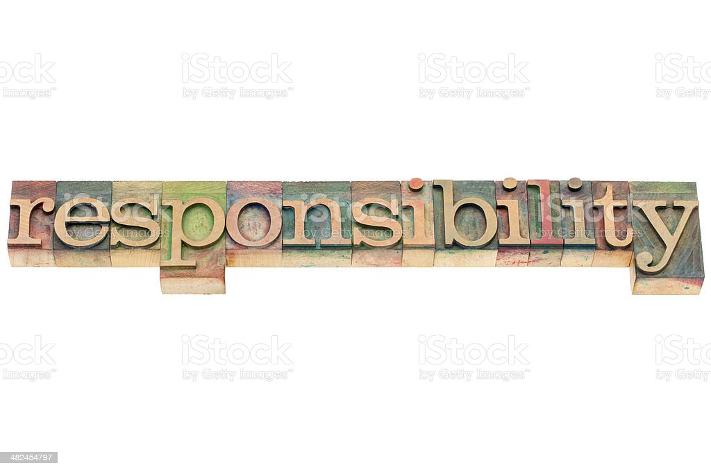 responsibility word in wood type stock photo