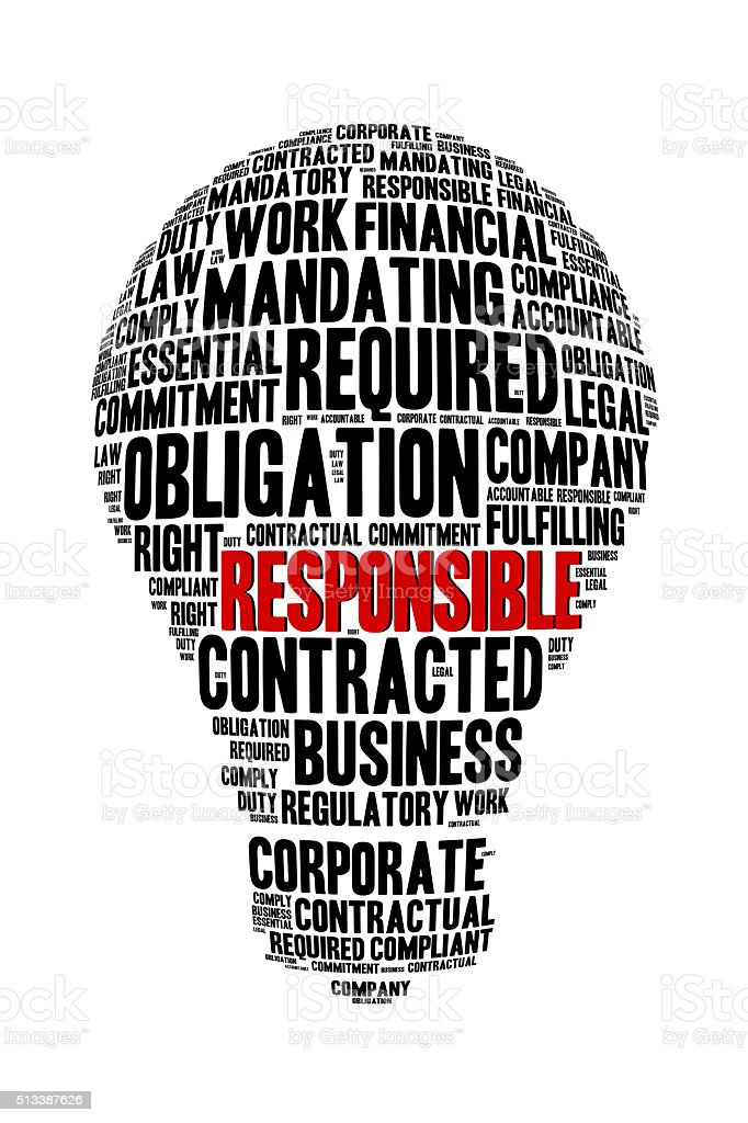 Responsible Word on Word Cloud Bulb Shape Concept stock photo