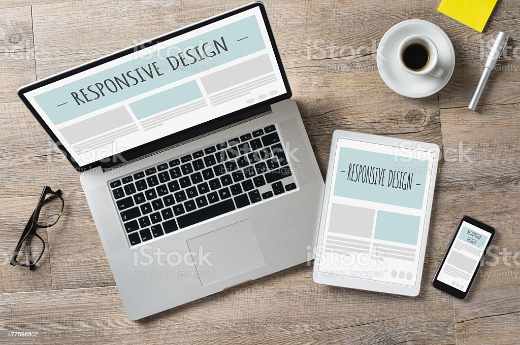 Responsive design and web devices stock photo