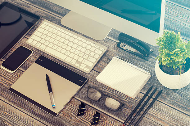 responsive design mockup. - web designer stock photos and pictures