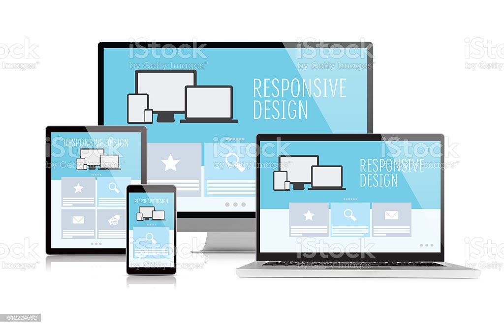 Responsive design on devices - foto de acervo