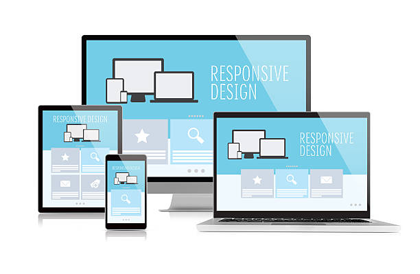 responsive design on devices - web page stock photos and pictures
