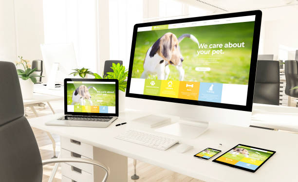 responsive pet website devices in loft office mockup stock photo