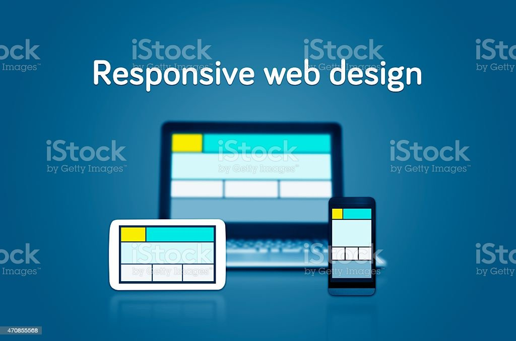 Responsive web design layout on different devices. stock photo
