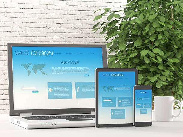 responsive web design on different devices - web designer stock photos and pictures