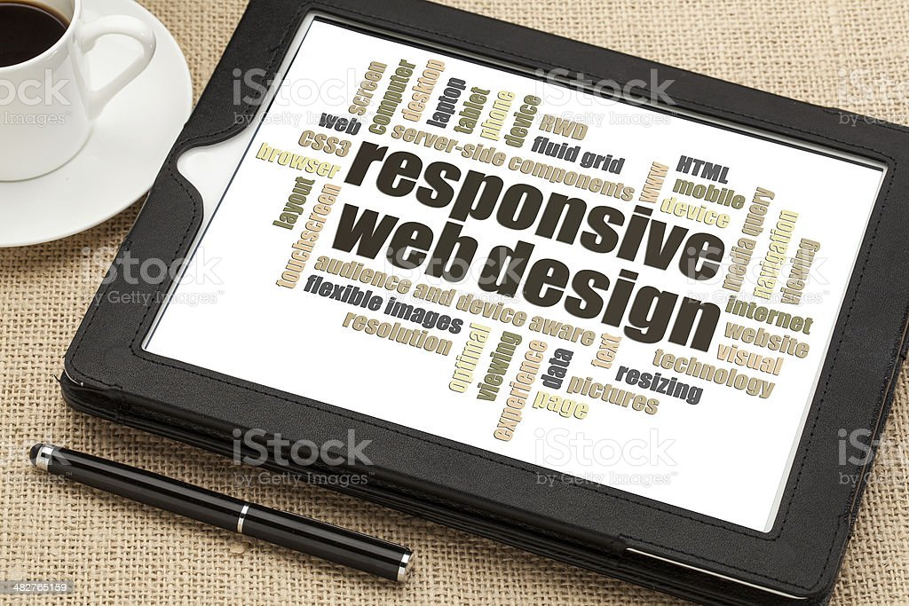'Responsive web design' on tablet PC stock photo