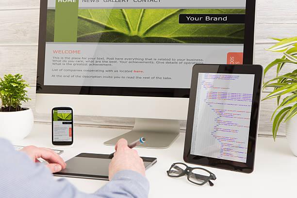 responsive web design - web designer stock photos and pictures