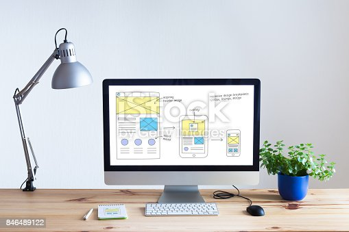 istock Responsive web design website wireframe sketch layout on computer screen 846489122