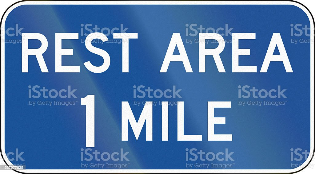 Rest Area 1 Mile stock photo