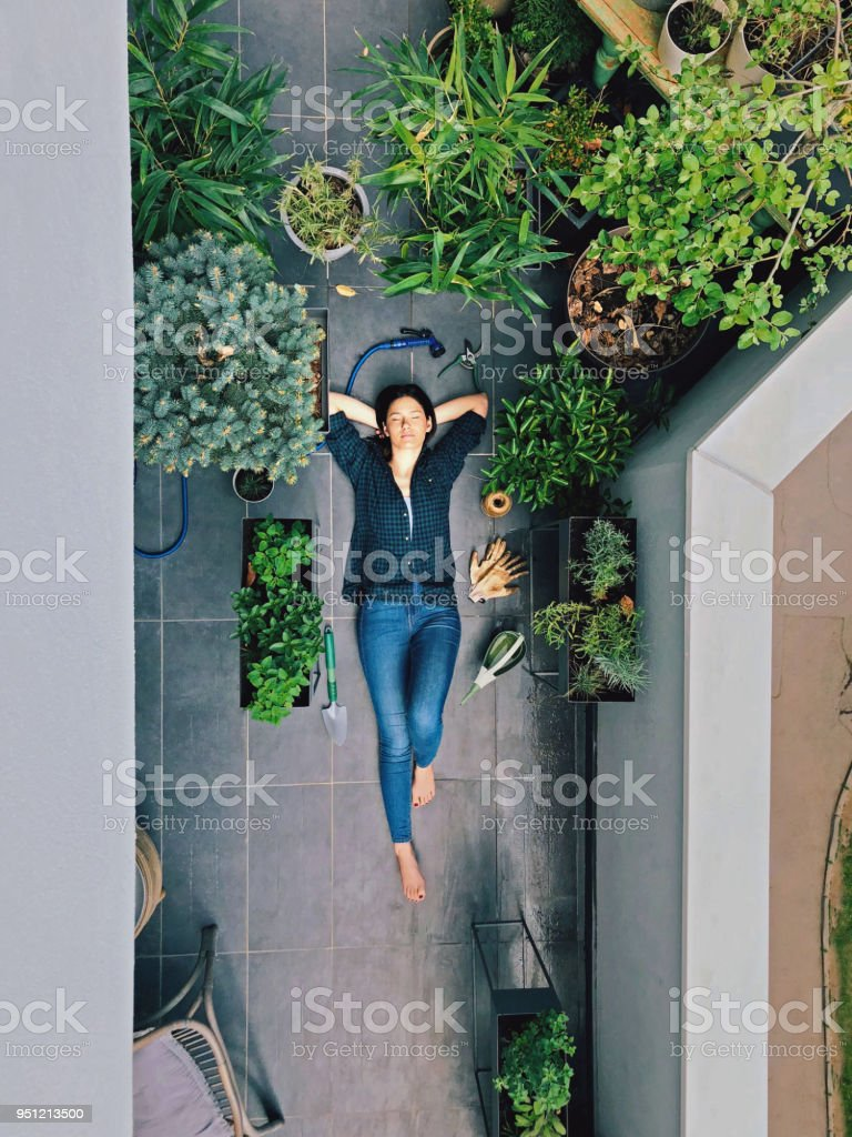 Rest from gardening stock photo