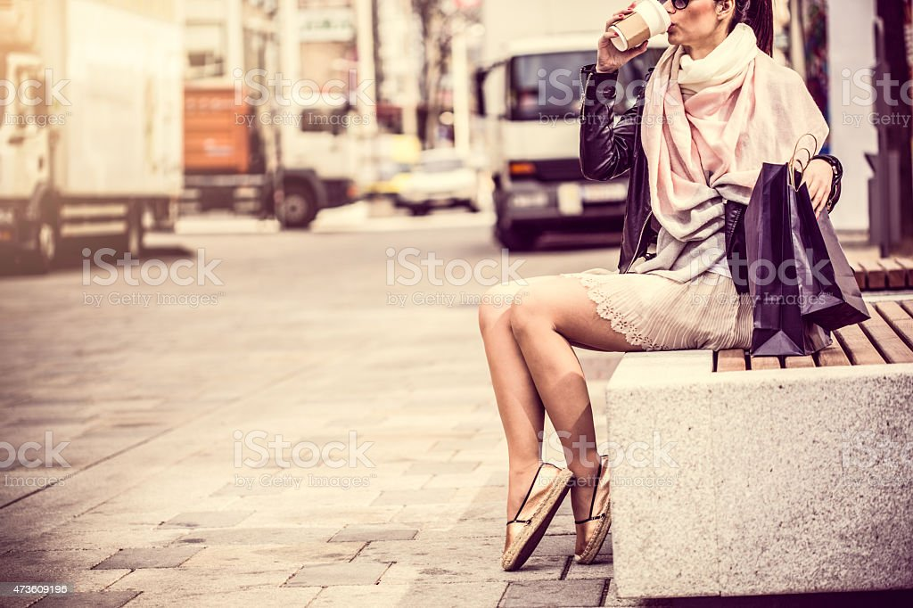 Rest from the shopping stock photo