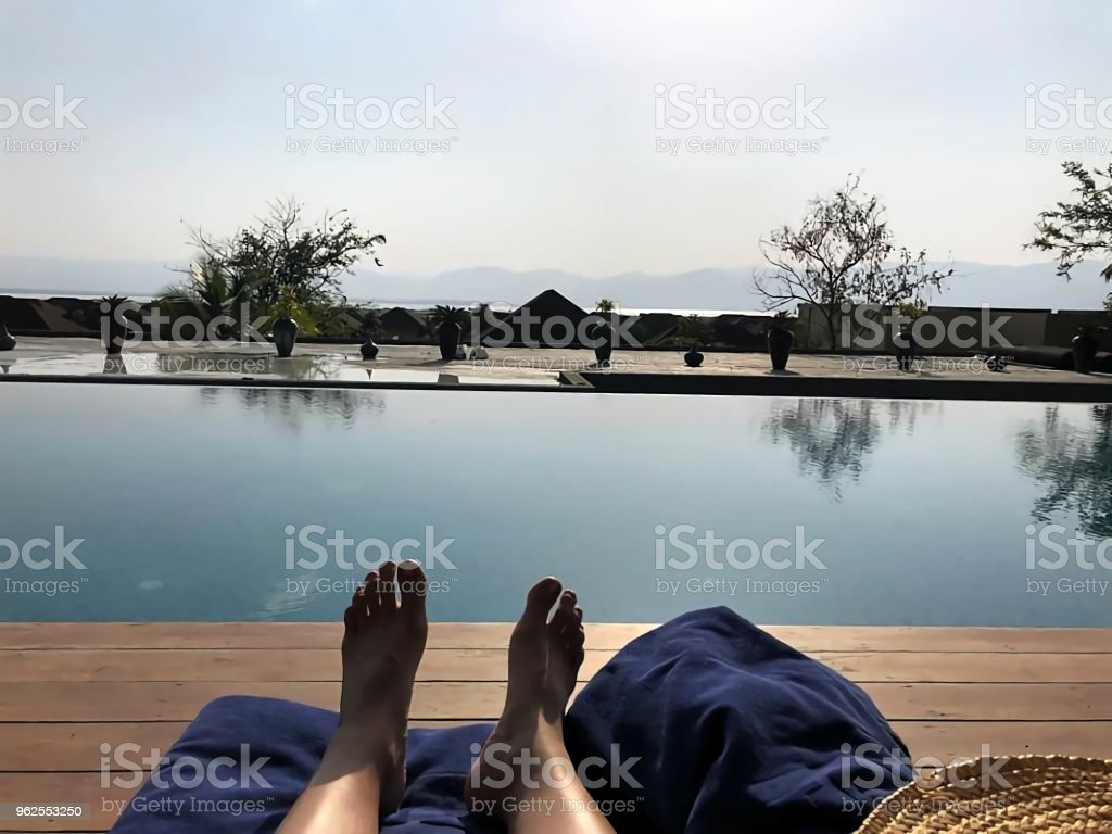 Rest in Hotel Resort Pool. - Royalty-free Adult Stock Photo
