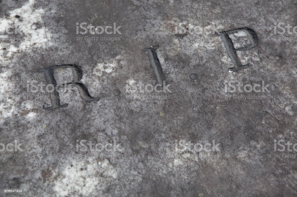RIP. Rest in peace. Traditional inscription on the grave. stock photo