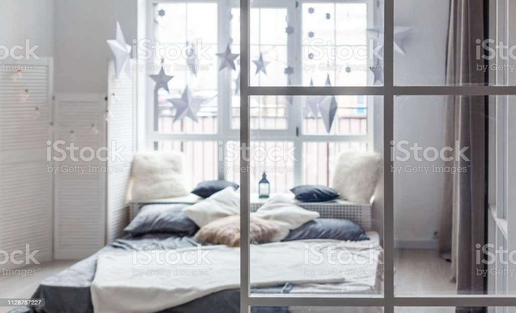 Rest, interior, comfort and bedding concept - bed at home bedroom