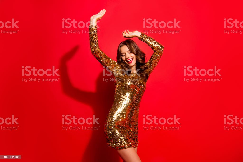 Rest, relax, dream, dreamy concept. Portrait of nice, stunning, adorable, good-looking, charming lady with modern wave hairdo raised hands up and close eyes isolated on vivid red background royalty-free stock photo