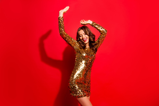 Rest, relax, dream, dreamy concept. Portrait of nice, stunning, adorable, good-looking, charming lady with modern wave hairdo raised hands up and close eyes isolated on vivid red background