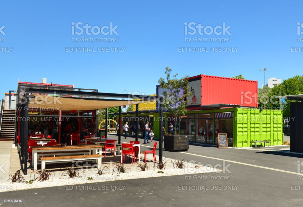 Restart Container Shops in Christchurch, New Zealand stock photo