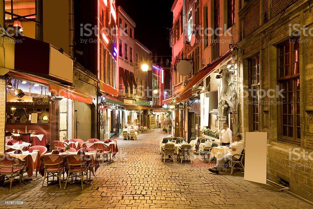 Restaurant Alley in Brussels, Belgium stock photo