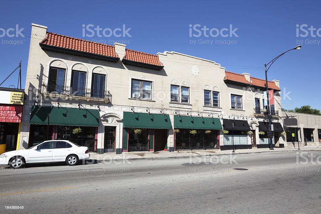 Restaurant and Shops on Northwest Highway in Edison Park, Chicag royalty-free stock photo