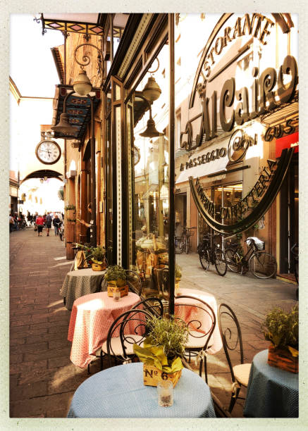 Restaurant and Sidewalk Cafe in Ravenna, Italy stock photo